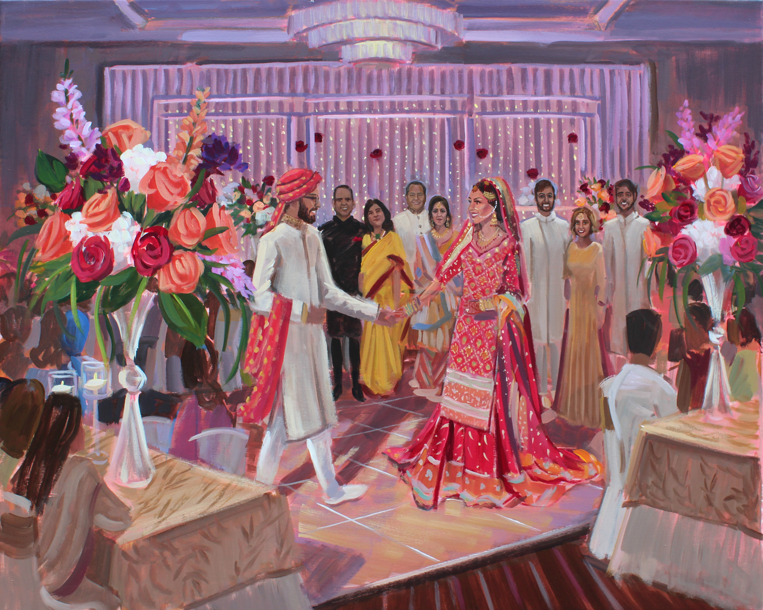 Live wedding painter, Ben Keys, so enjoyed capturing Haya + Adil's gorgeous wedding reception held at St. Louis' Hyatt Regency located right at the Arch.
