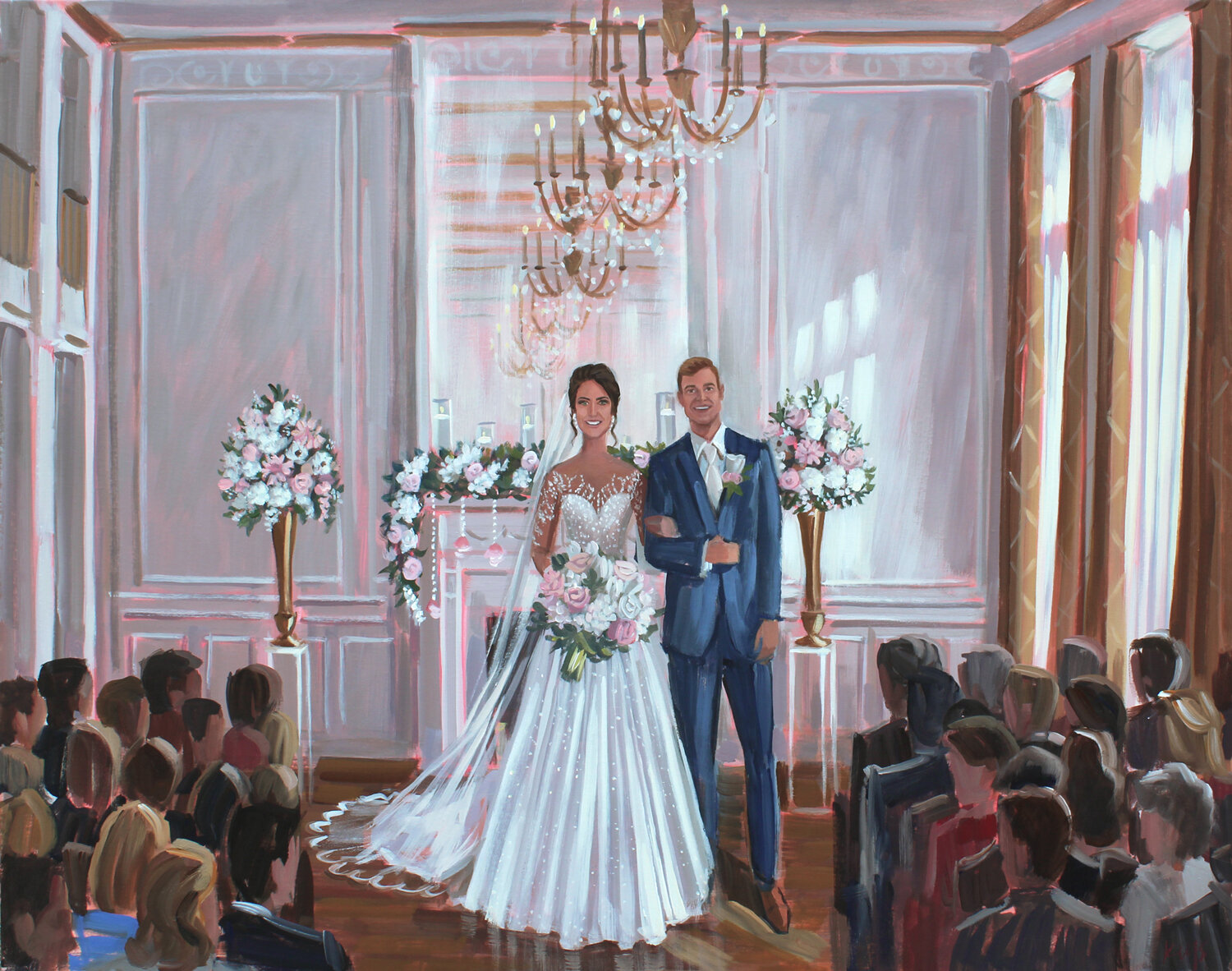 Live Wedding Painter, Ben Keys, captured Sydney and Roby's ceremony held at Hotel Concord, just outside fo Charlotte, NC.
