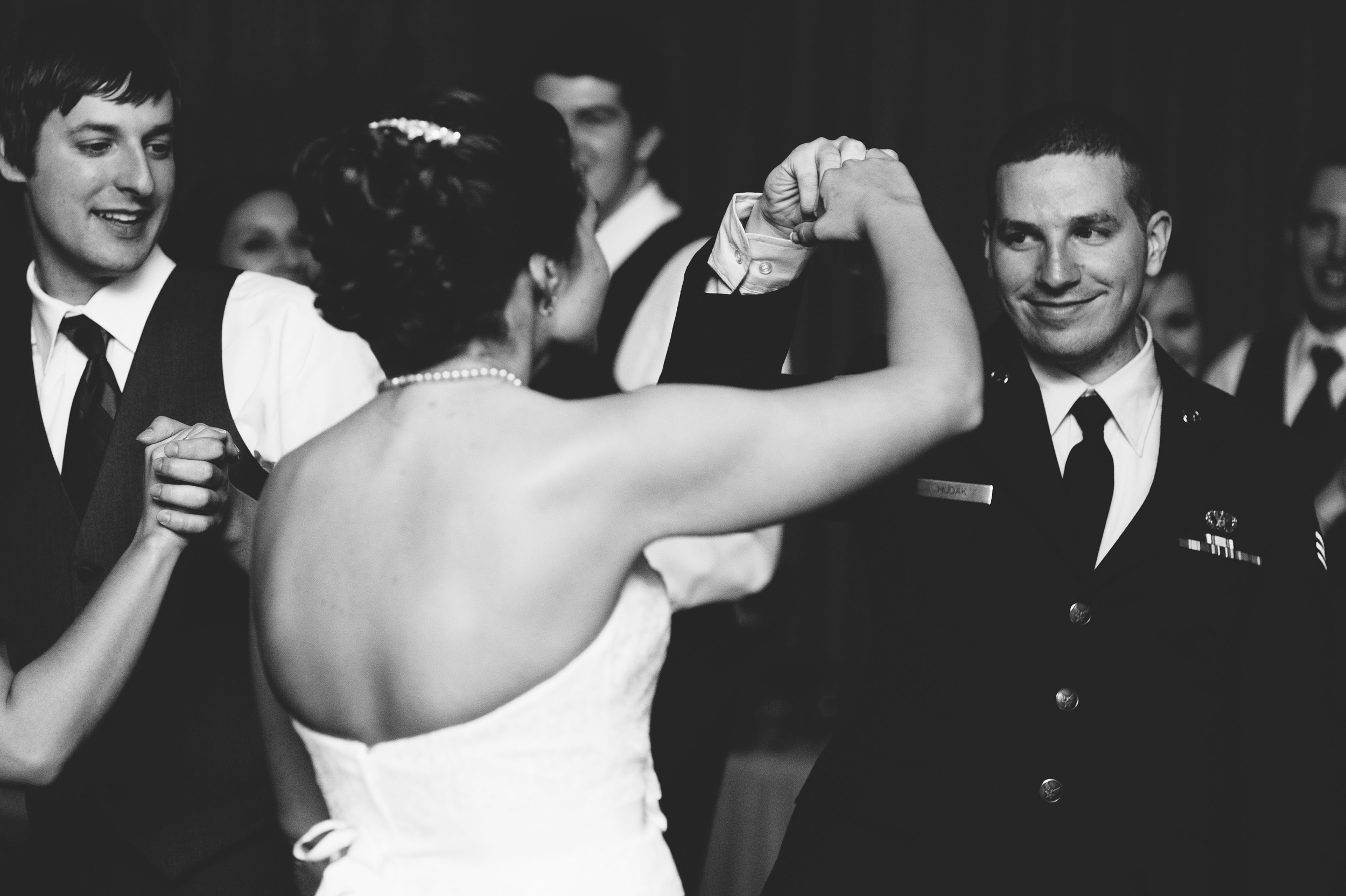 Bride and groom fist bump
