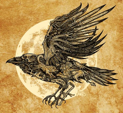 Send a Raven - 2 color on parchment