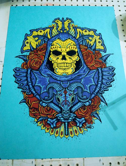 Skeletor Muerto - 4 color on French's Blu