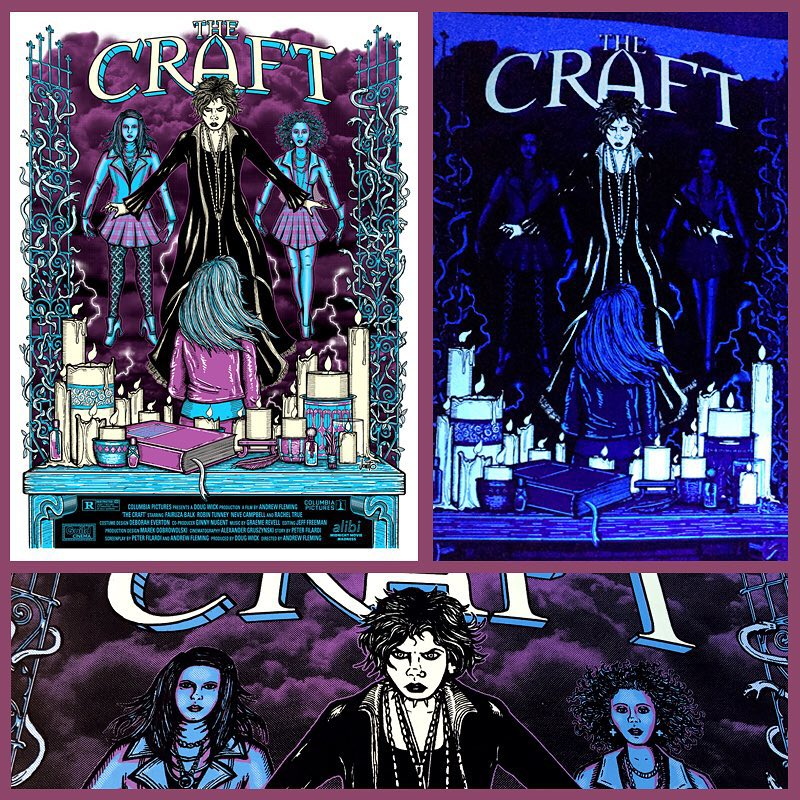 Here's my limited edition glow in the dark movie poster for #thecraft 💀 The anniversary screenings are this weekend at the #guildcinema as part of #weeklyalibi midnight movie madness!! #screenprinting #jonito14 #thecraftmovie #wearetheweirdosmister
