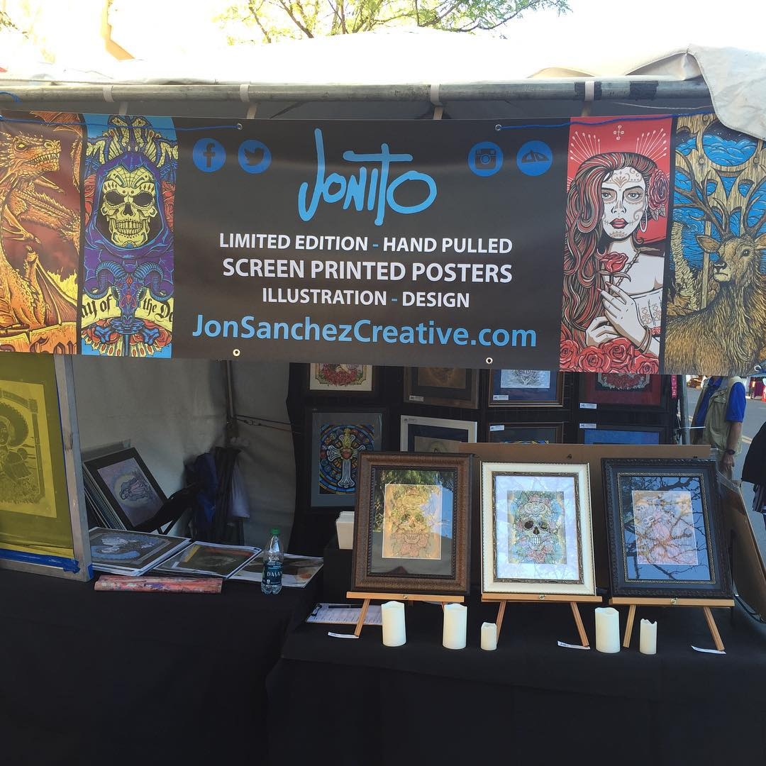 All set up! Come see me at booth 25 on Lincoln Ave #contemporaryhispanicmarket  #santafe #jonito14 😃🎨😃🎨😃