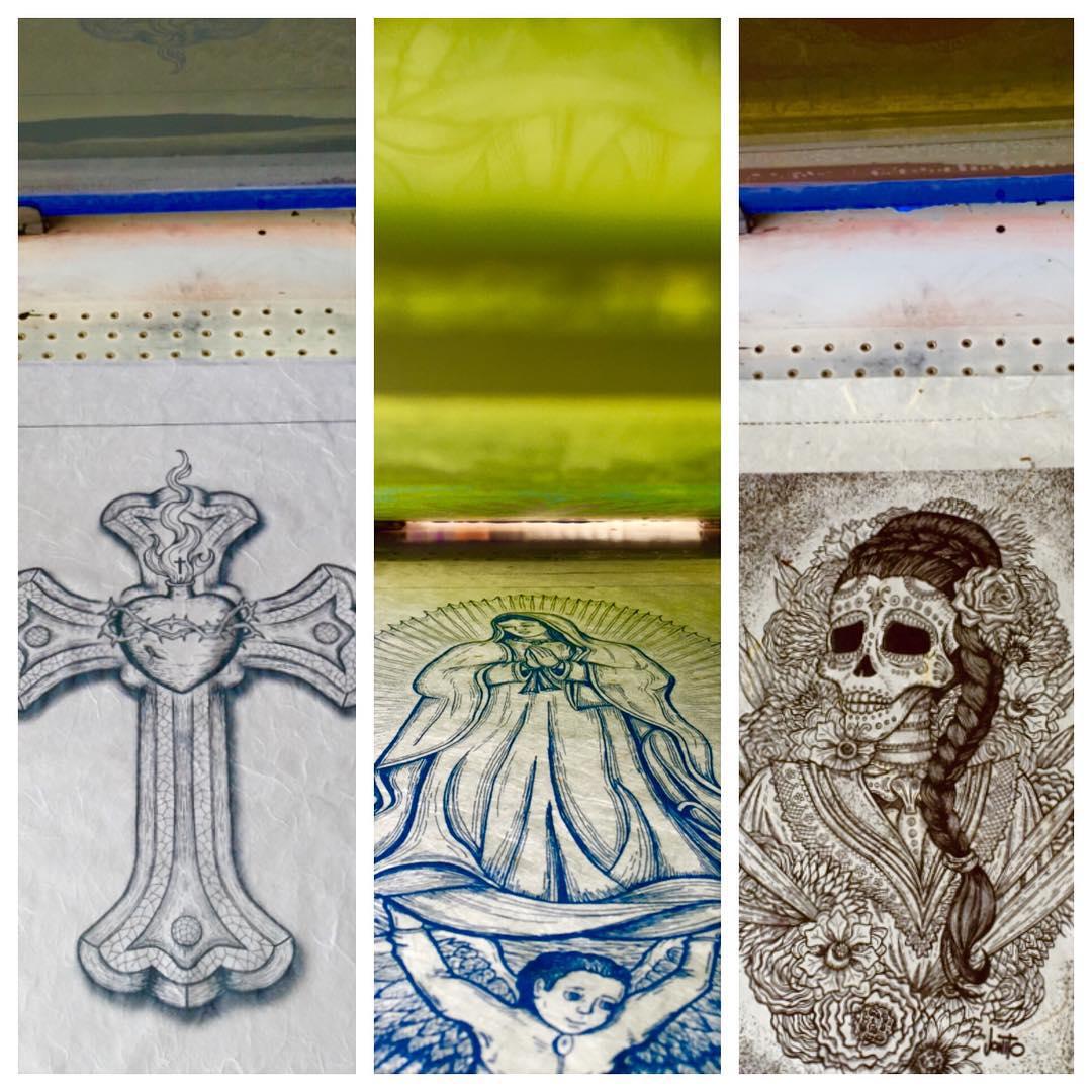 Screen printing for #contemporaryhispanicmarket It's less than three weeks away! I'll have seven new prints available. 😃🎨#screenprinting #santafe #jonito14