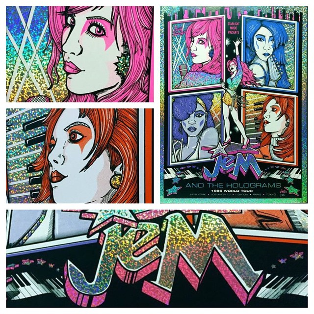 """This is a limited edition poster I made for the upcoming """"Out of Time: An 80s 90s Cartoon Art Show""""!! It's 7 colors, screen printed on hologram paper ✨sparkle, grid and mosaic pattern editions. #jem #jemandtheholograms  #trulyoutrageous #trulytrulytrulyoutrageous #screenprinting #jonito14"""