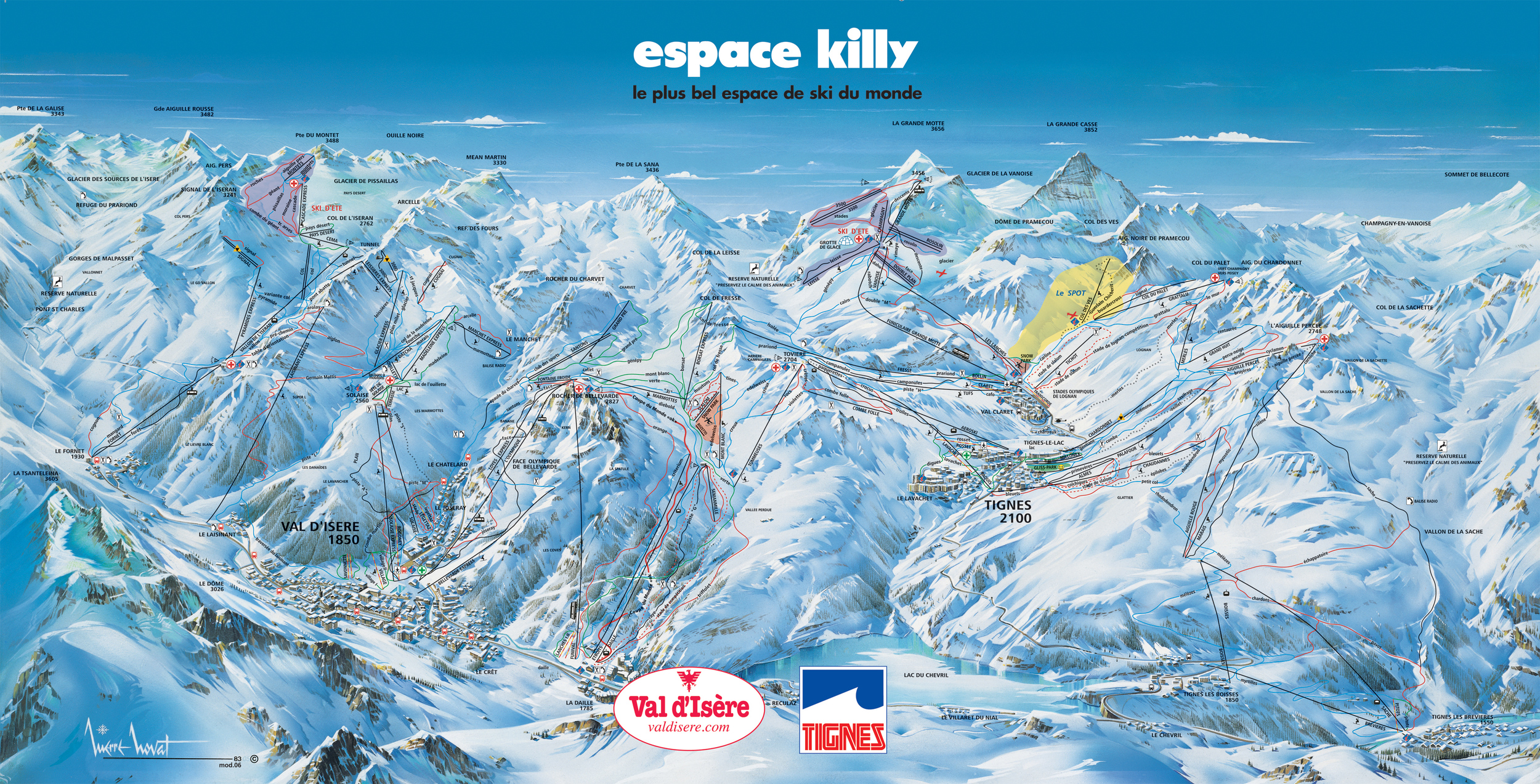 A huge piste map of the area. We're in the lower right corner.