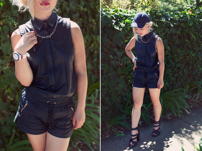 Sportsgirl cap | Gathering Eye studded necklace (gift) | Dion Lee x Cue leather shirt |  Alice in the Eve shorts  (gift) | Alexander Wang 'Petra' shoes | Lacoste GOA watch (gift)