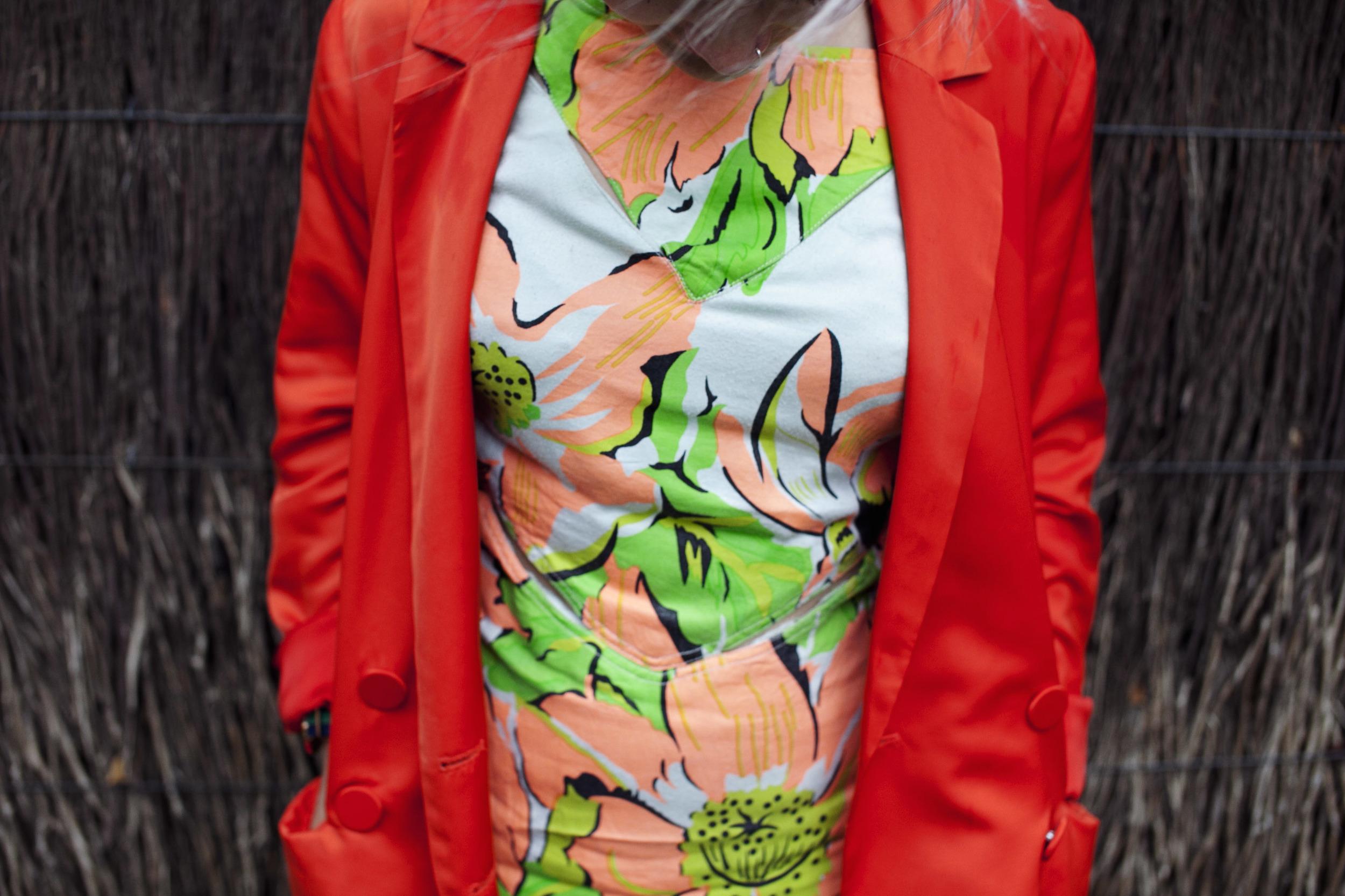 H&M Conscious Collection blazer | State of Georgia banana split dress (gift)