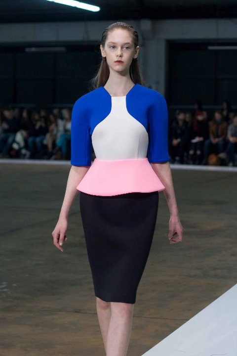 Jemma Baines walks in the Josh Goot S/S 2011 show, which featured lengthy hemlines and signature clean silhouettes.