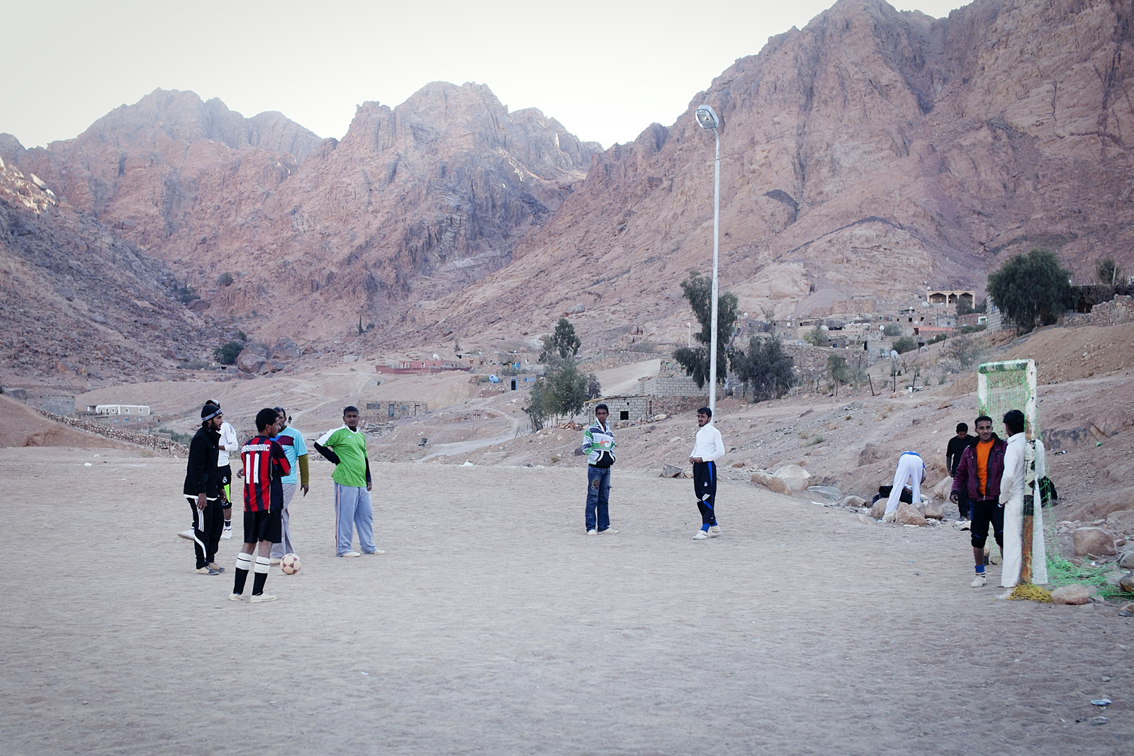 Local Bedouins play soccer at St Katherine, the village at the base of Mt Sinai, Egypt.