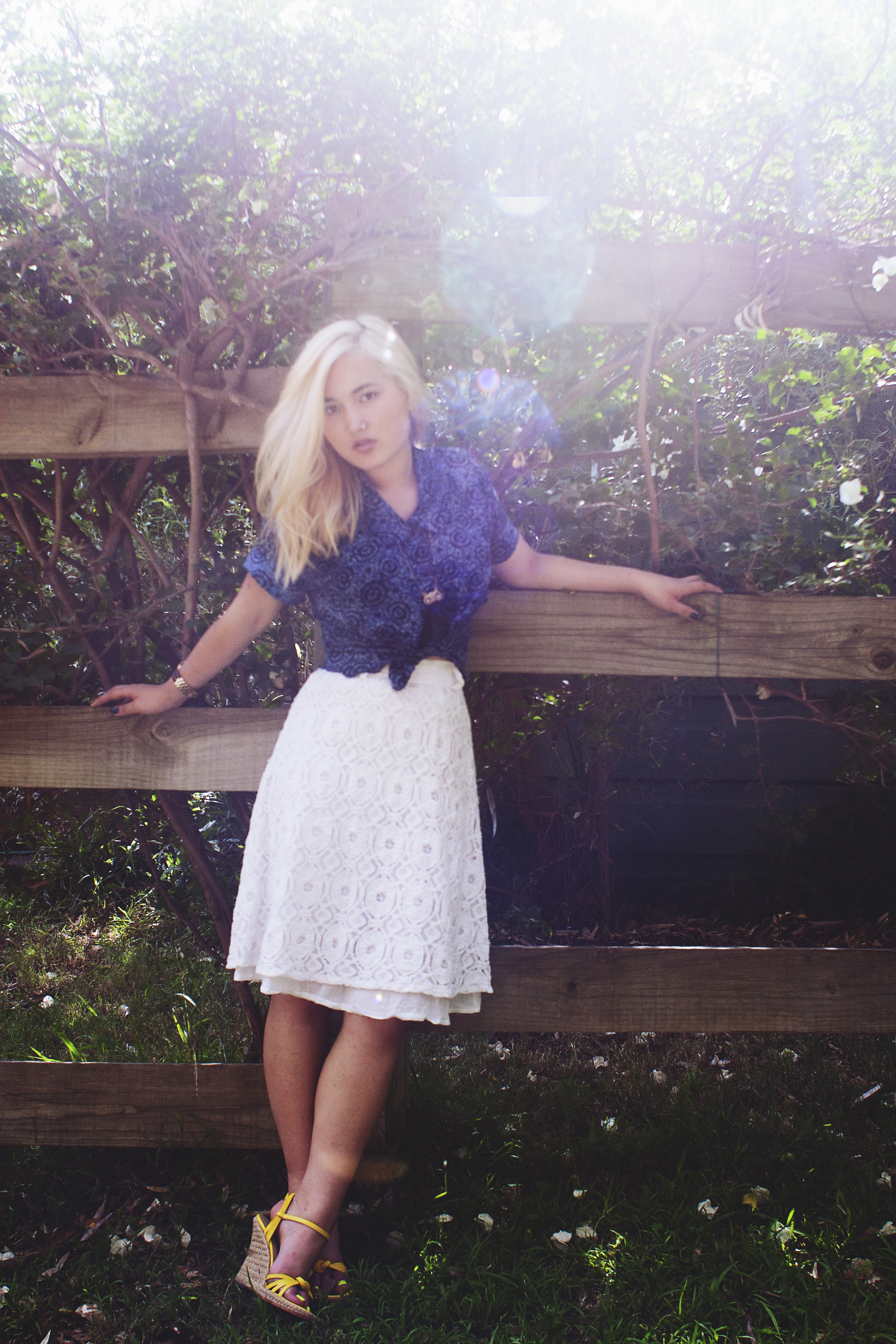 Vintage top and watch | Forever 21 necklace | Valleygirl lace skirt | Gary Castles Sydney espadrille wedges