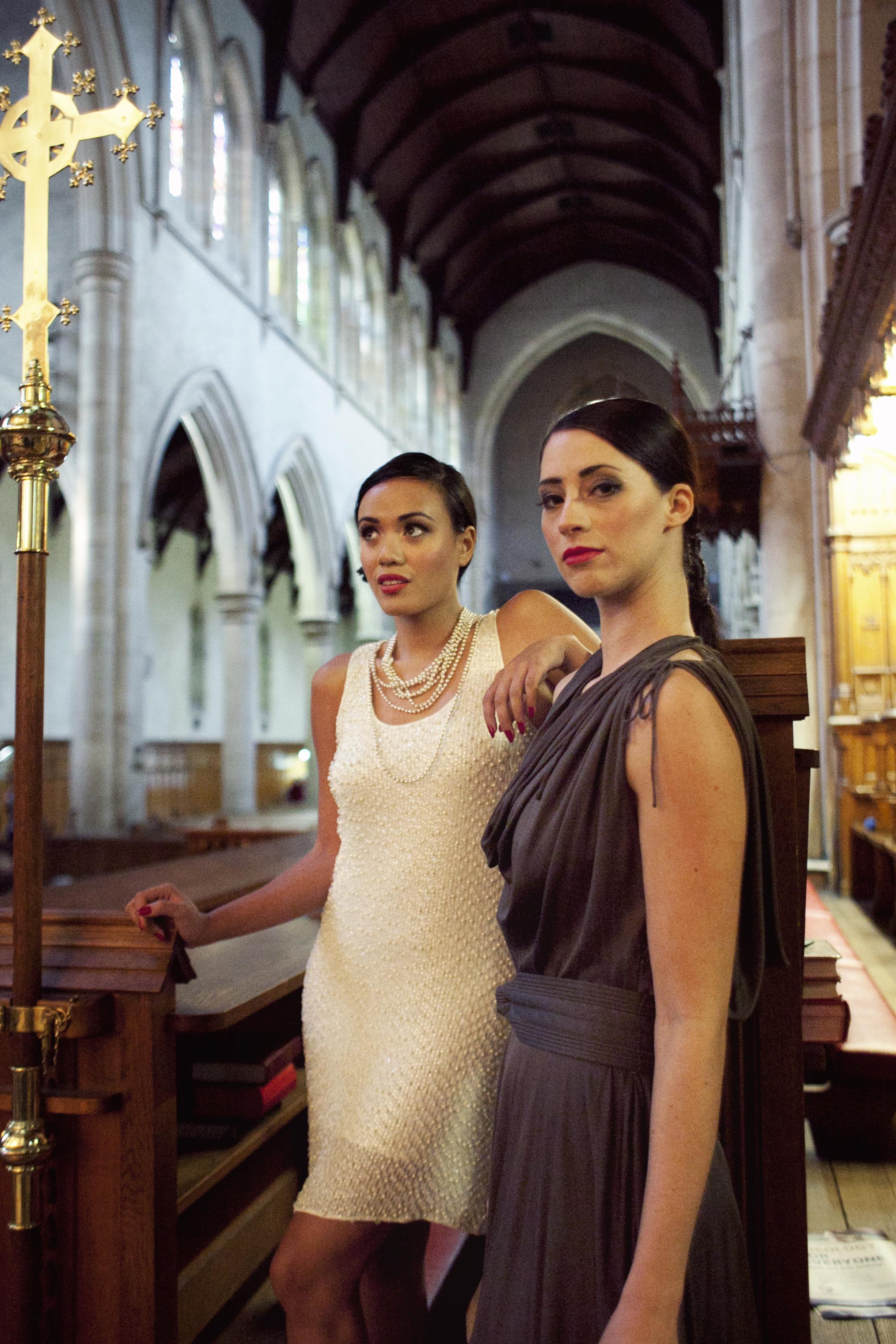 Gina wears vintage dress, pearls | Kristy wears Zac Posen for Target dress