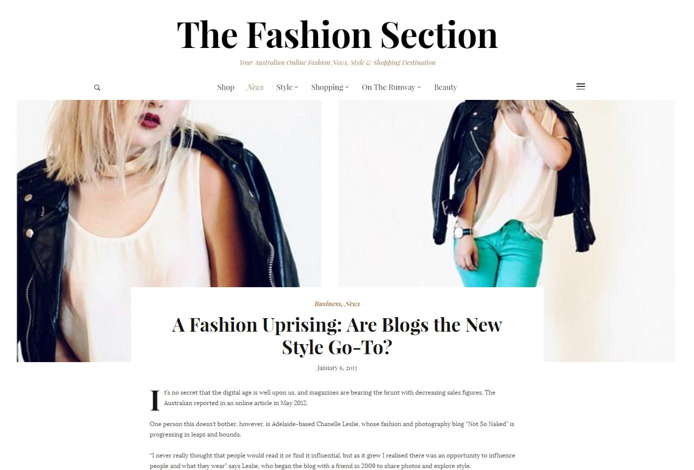 Feature on Chanelle's work in The Fashion Section, 2013