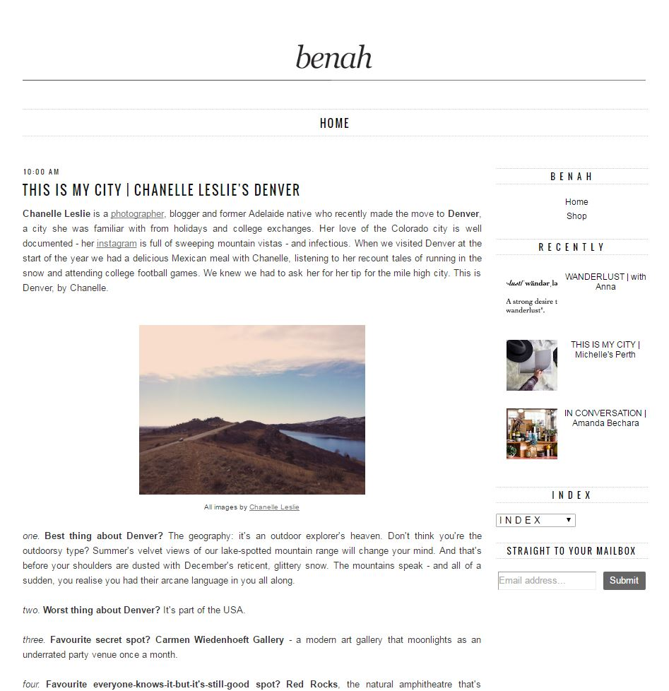 Interviewed for  Benah , 2014