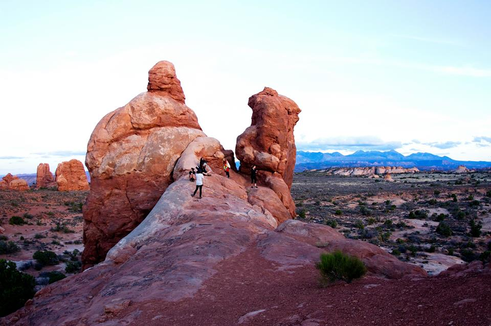 Arches National Park just after sunset.