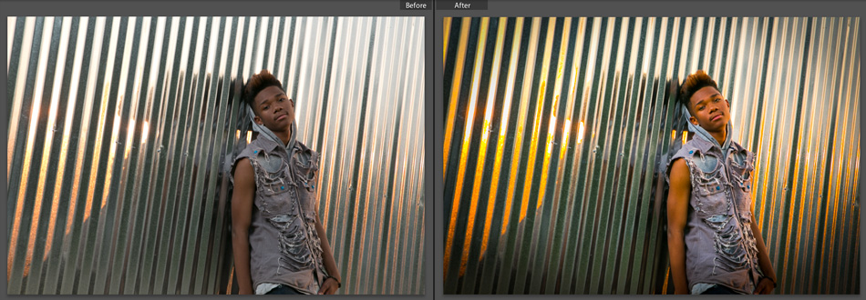 """Left (Before) Right (After). An example of how little post-production we had to do for this photo. Exposure and white balance were spot on. All we had to do was make the colors """"pop"""" more and add a few effects."""