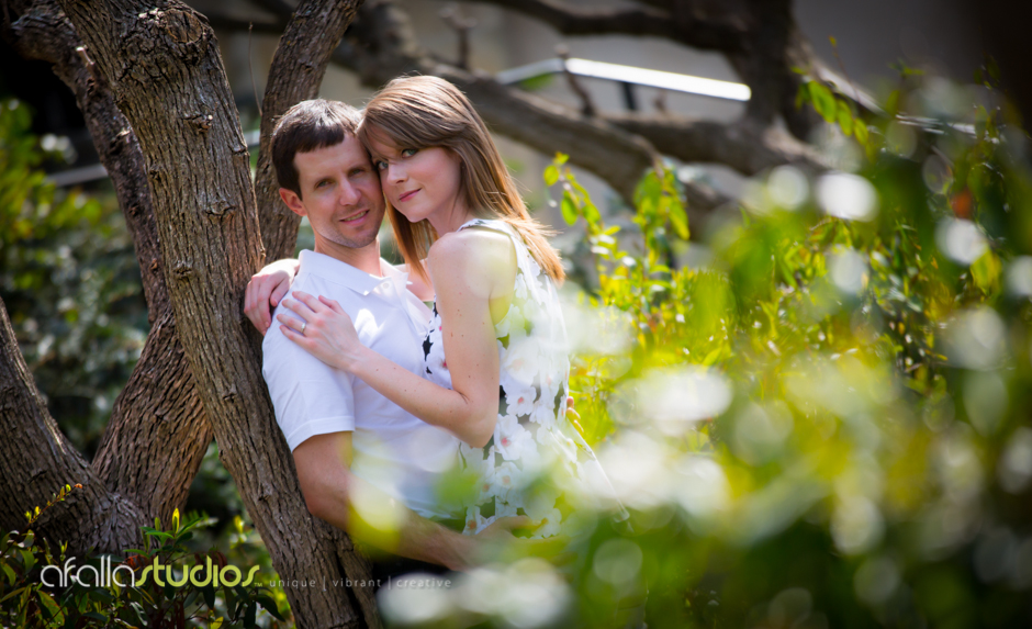 Michael and Andrea taking in the beauty of the Dallas Arboretum. Luckily the sun came out just in time for their engagement photo shoot.