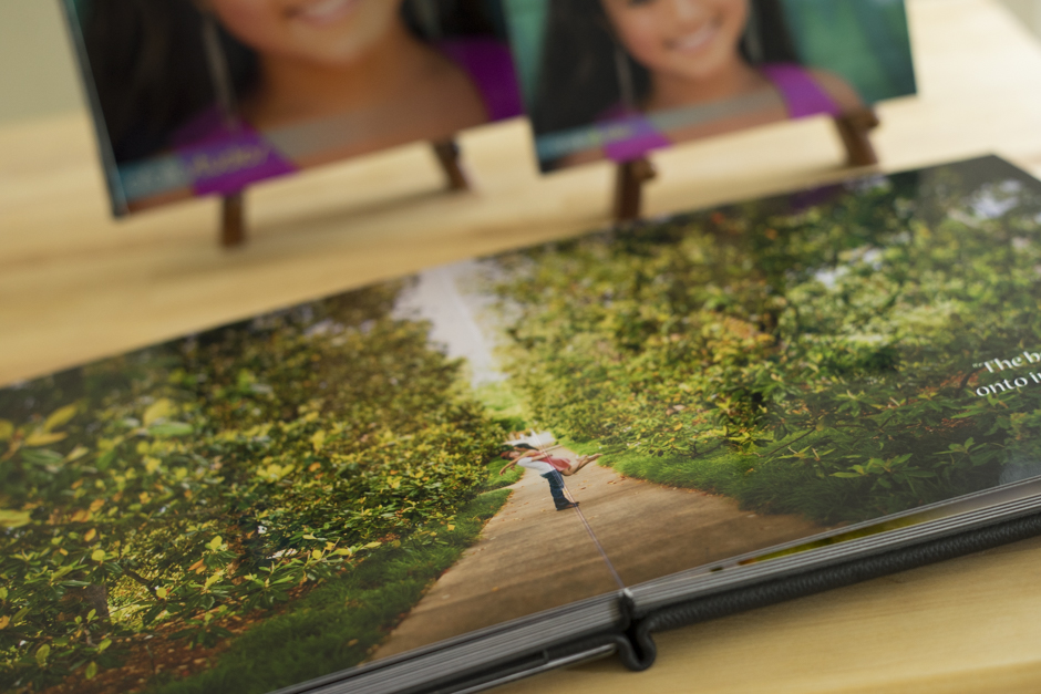 All pages are made of a thick metallic photo paper and lays flat when you open your album.