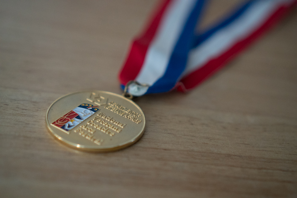 Above: The gold medal award from the 2011 National Veterans Creative Arts Festival.