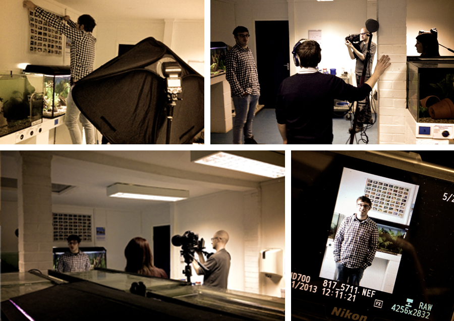 Action on set. Space was tight because of the working aquatic equipment in the room, but working together with the chaps from Momentum meant we were able to open up the space with some well positioned lighting and a tightly framed shot.