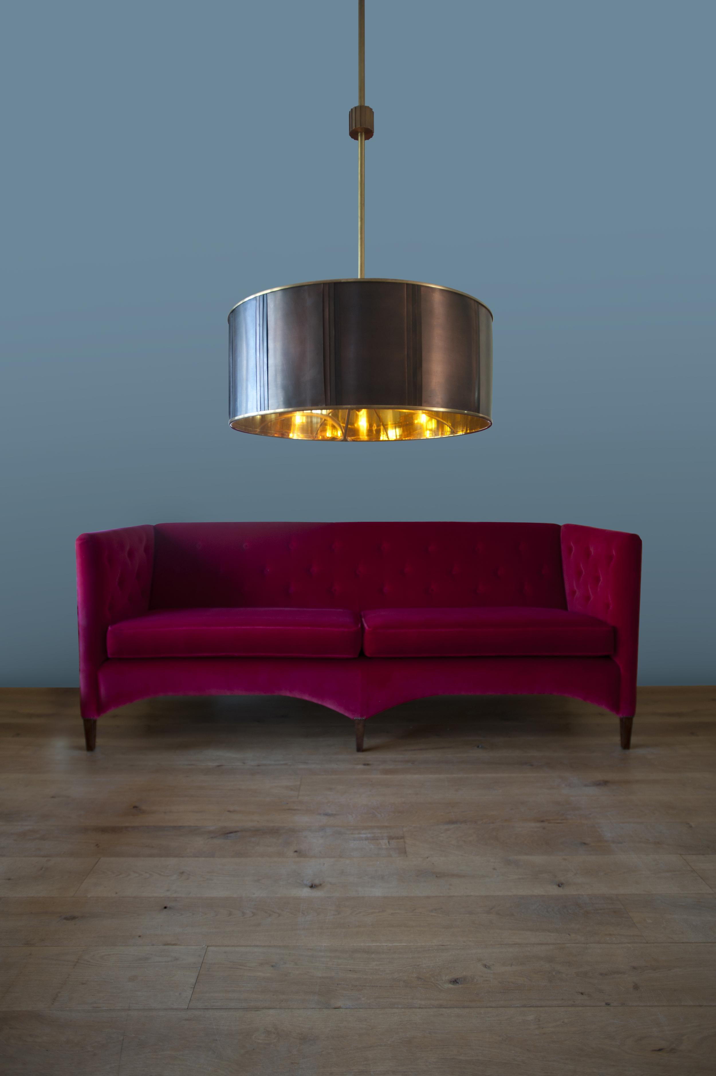 Stunning copper and brass light.