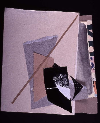"""lined out 1991 collage 18""""24"""""""