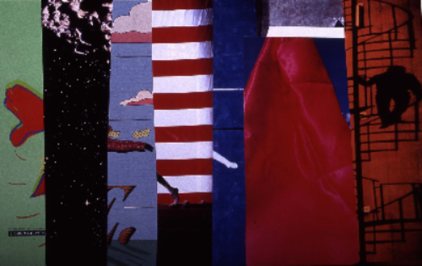 "straighten up & fly left 1991 collage 24""x18"""