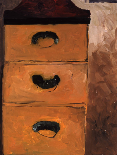 "chest of drawers     24""x33"" mixed media 1997"