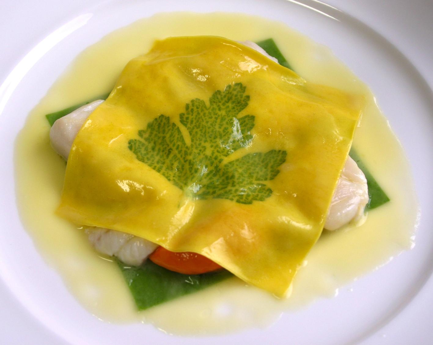 Il Raviolo Aperto, one of Gualtiero Marchesi's most famous dishes.