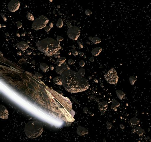 The Millennium Falcon enters the Hoth Asteroid field (image fromhttp://starwars.wikia.com)