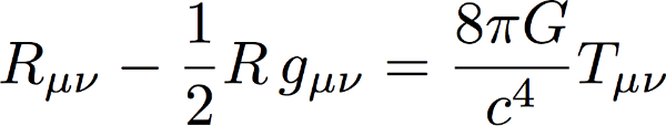 The Einstein Field Equations: the left hand side depends on the shape of spacetime while the right-hand side tracks the distribution of energy and momentum. Or, as  John Wheeler  put it,space (the left hand side) tells matter how to move, while matter (the right hand side) tells space how to curve.