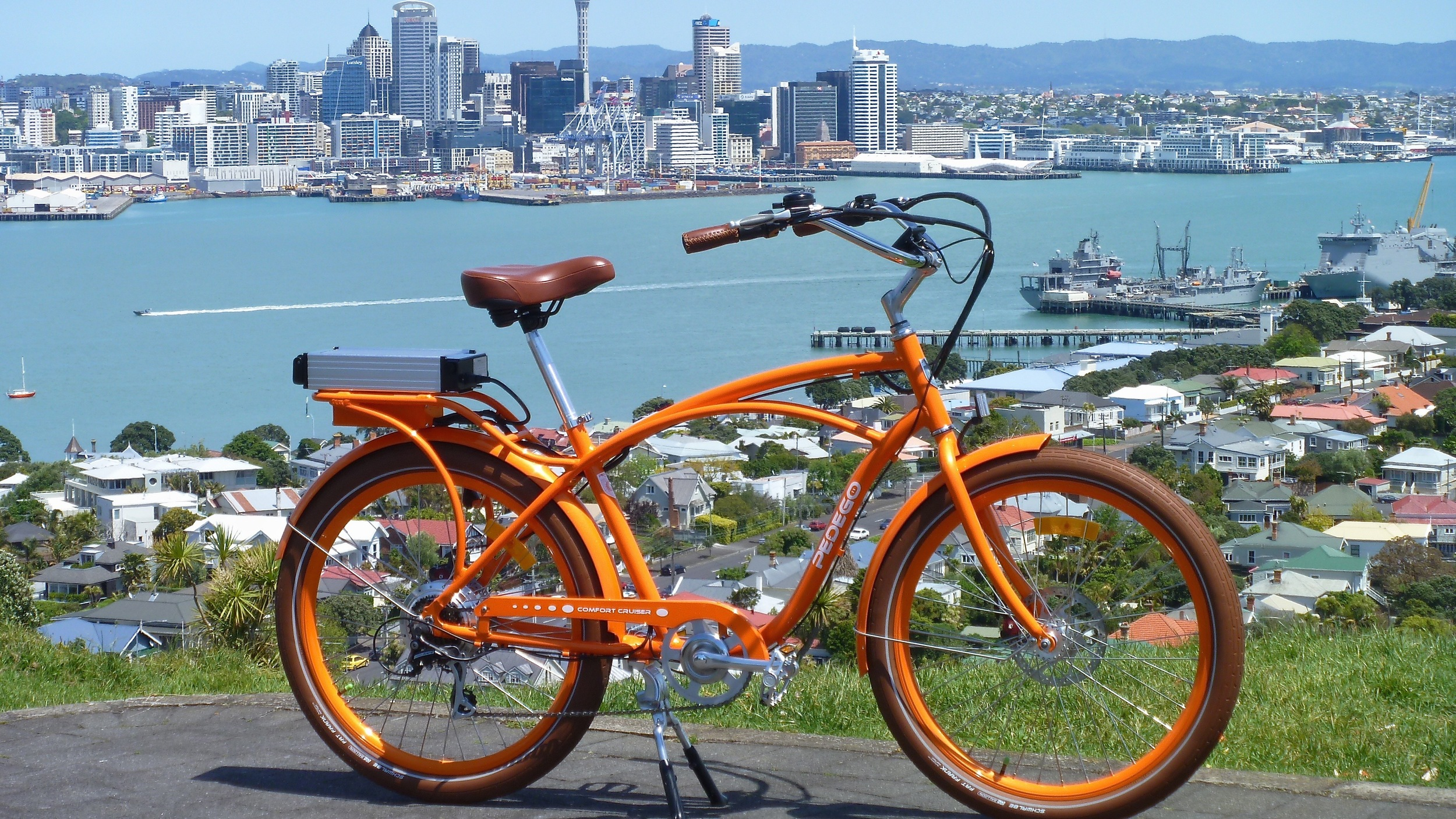 Electric bike (and Auckland harbour)  Image:  Antoine Peters
