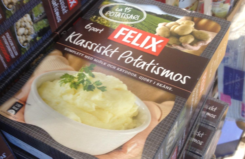 Man blir lite paff när man dyker på en stapel med svenskt potatismospulver i Kawasaki!