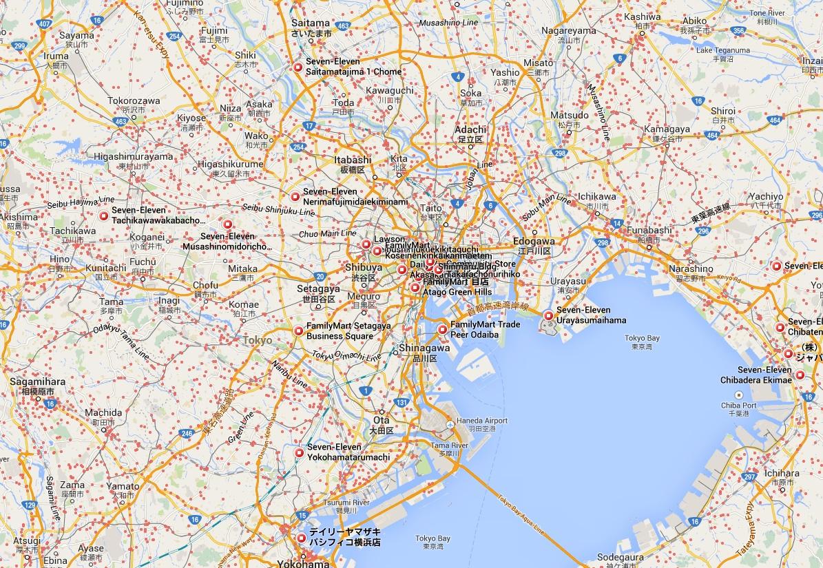 Här Tokyo med omnejd. Varje liten röd prick är en 24-timmarsöppen närbutik. Saknar du en kopp kaffe och en bulle klockan 03:15 har du alltid nära till lösningen till ditt problem i den här stan!