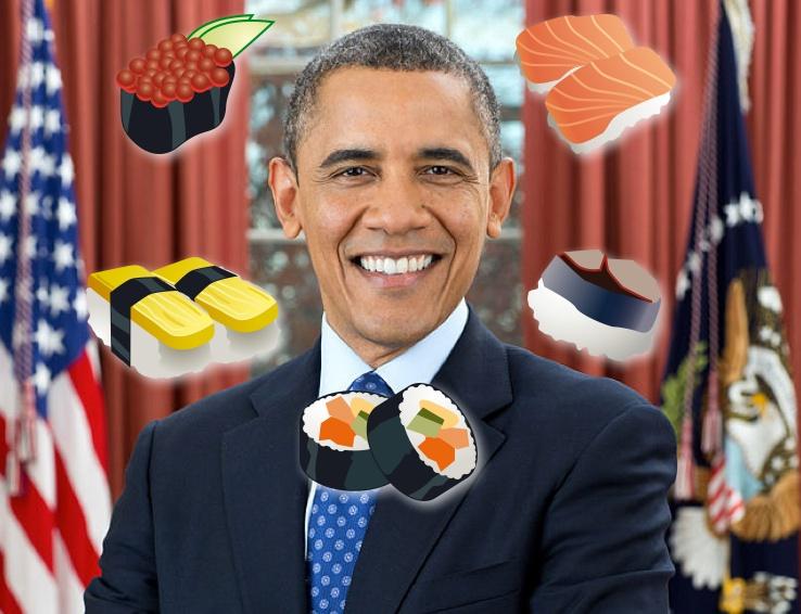 Obama är förtjust i sushi, men i Tokyo blev det lite för mycket av det goda..