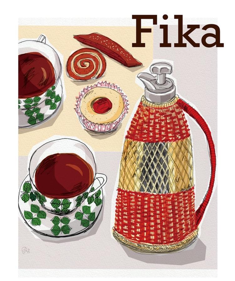 Svensk fika - en ny trend i Japan? Här omslaget till frugans första bok.