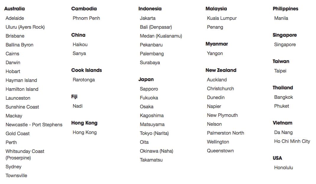 Jetstar har ett ovanligt stort sortiment av destinationer kring Stilla Havet och tack vare Japan Air Lines delägarskap är man väl representerade i Japan. Klicka för större bild.