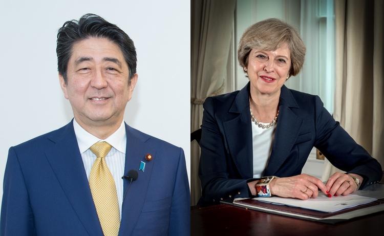 Premiärministrarna Shinzo Abe och Theresa May träffades i London förra veckan för att diskutera Storbritanniens utträde ur EU.  Foto:Creative Commons License 2.0 och Open Government Licence v3.0