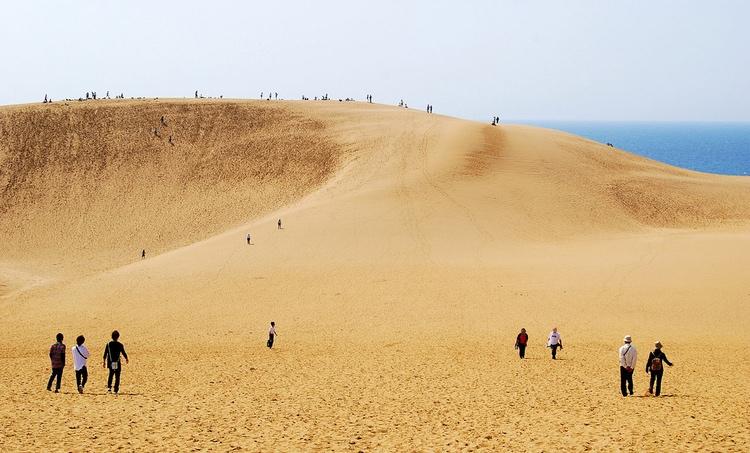 Det finns faktiskt något som liknar ett ökenlandskap i Japan - sanddynerna i Tottori, den japanska prefektur med lägsta befolkningstalet, ca 570,000 - men den största delen av landet är ytterst lummigt och grönt.  Foto: Hashi photo, Creative Commons License
