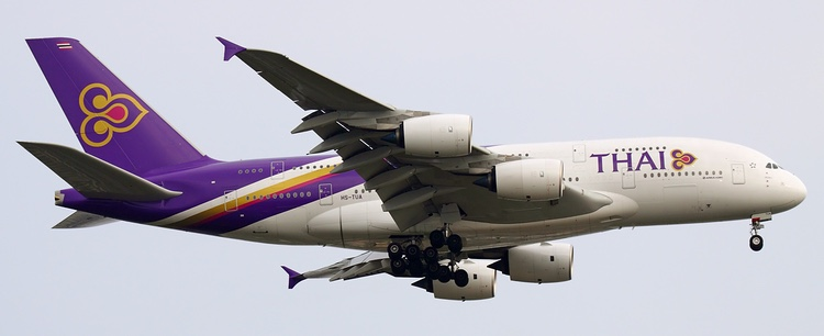Thai Airways använder sina nya A380 på bland annat rutten till Tokyo.  Foto: Sergey Kustov, Creative Commons license.