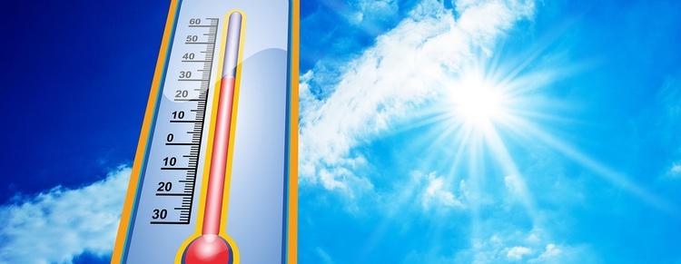 Vi har nu en månad eller längre med temperaturer som sällan går under 30 grader och ibland kommer att överstiga 40 grader.  Foto: Public Domain