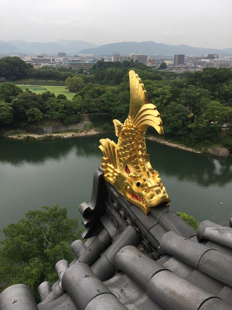 Vackra prydnader i guld på slottstaket, antingen i form av fiskar eller av persikor. Moderna Okayama (som ser ut som i princip vilken annan modern mindre stad som helst i Japan) i bakgrunden.