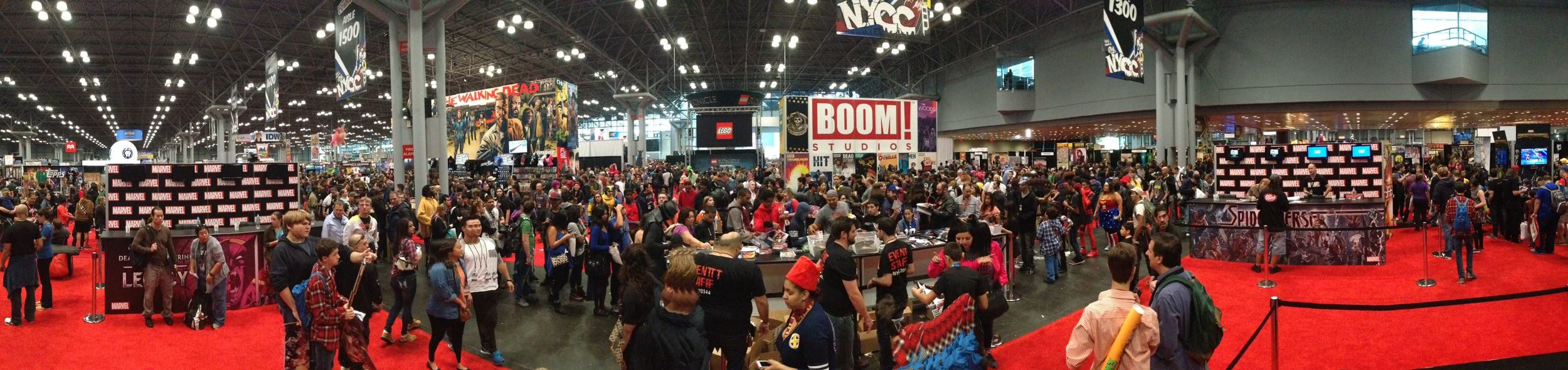 Marvel booth - just about to let the hordes in. I'm tiny and on the right, ready to sign.
