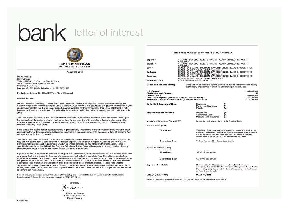 Exim Bank letter - click to enlarge