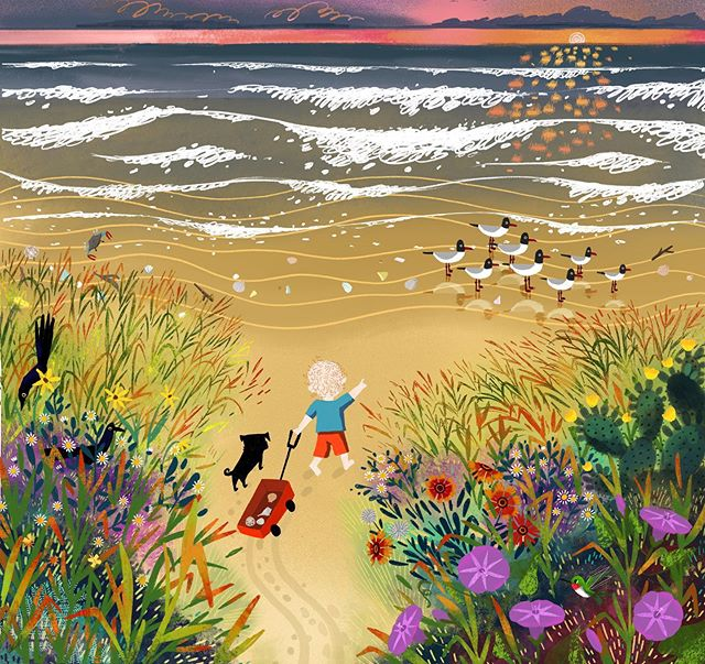 We are just back from the beach. Our family comes together to spend time there every year around my son's birthday. I wanted to capture the memory of the wildflowers in the dunes, the sun on the waves, and my little one running towards the water. . . . #illustration #kidlitart #artistsoninstagram #childrensbookillustration #illustrationartists #illustrationart #galvestonbeach #procreate #wildflowers