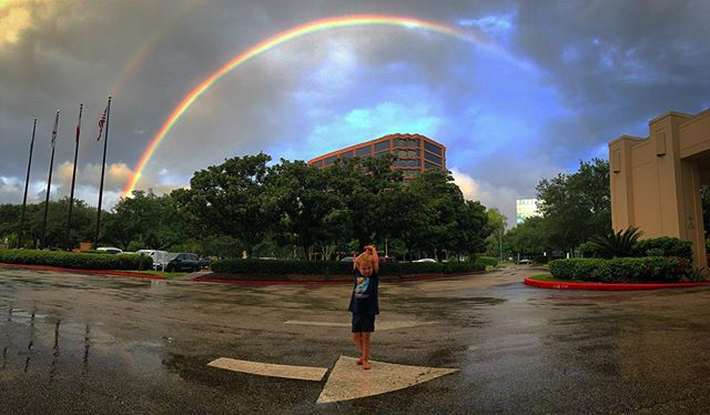 We arrived at the hotel for the Houston SCBWI Conference, and if you are the kind of person who believes in weather-based omens then it looks like it will be a good weekend! 🌈 #houstonscbwi2019