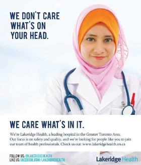A clever recruitment ad being run by a Toronto hospital in Montreal.