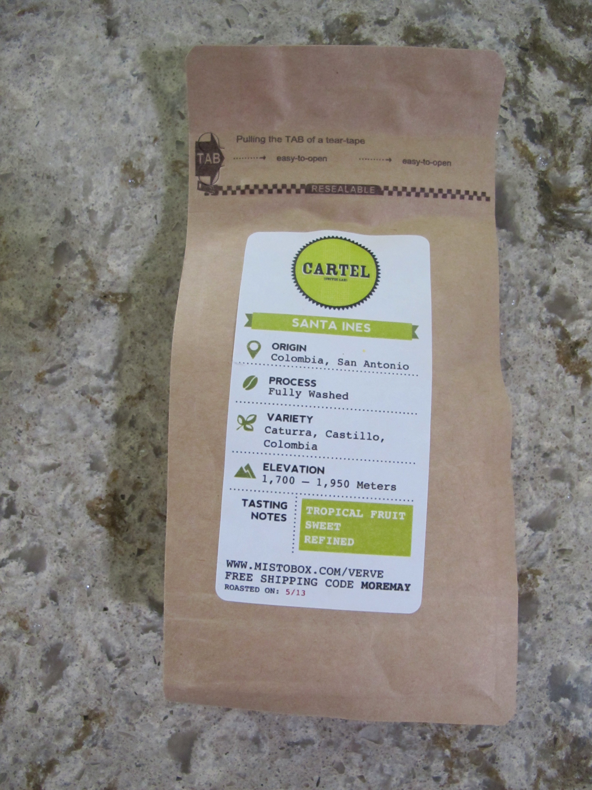 One of the coffees in the may Misto Box