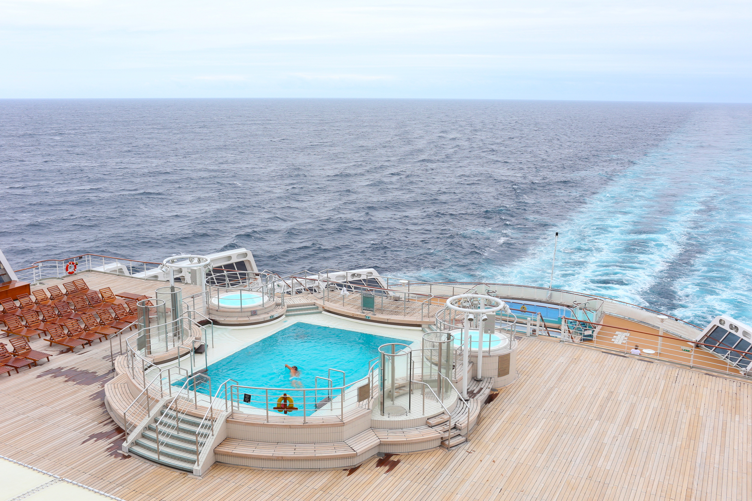 There were actually five pools on the ship, one of which was only useable for a day since it was in the windiest part of the ship. The weather remained blustery, sometimes warm, but mostly a bit overcast and cloudy. It made for lovely walks around the deck, sauna sits, and a nice environment to simply watch the sky or read while the ship bounded along, slowly rocking.