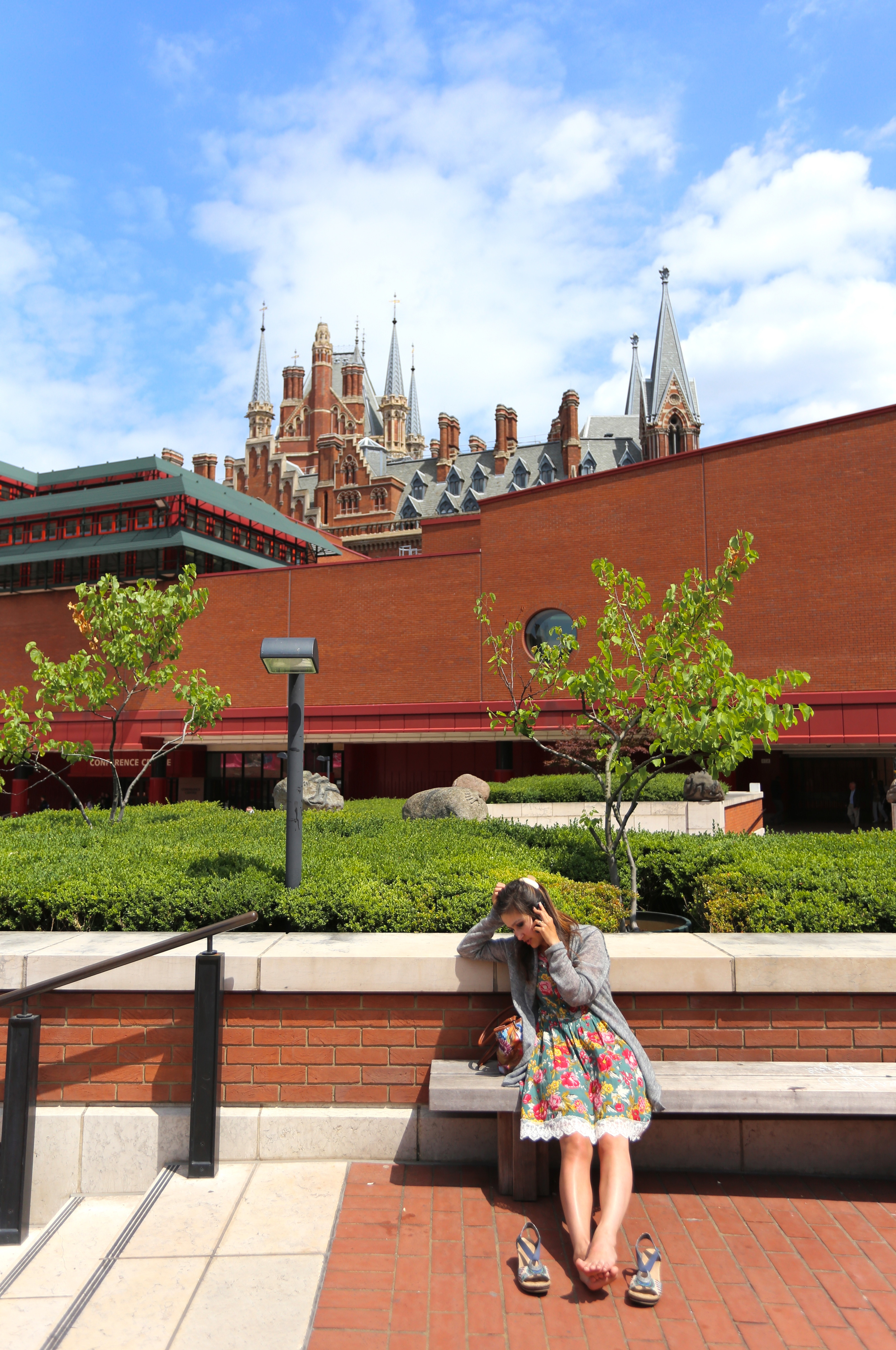 Outside the London Library, with the spires of Saint Pancras.